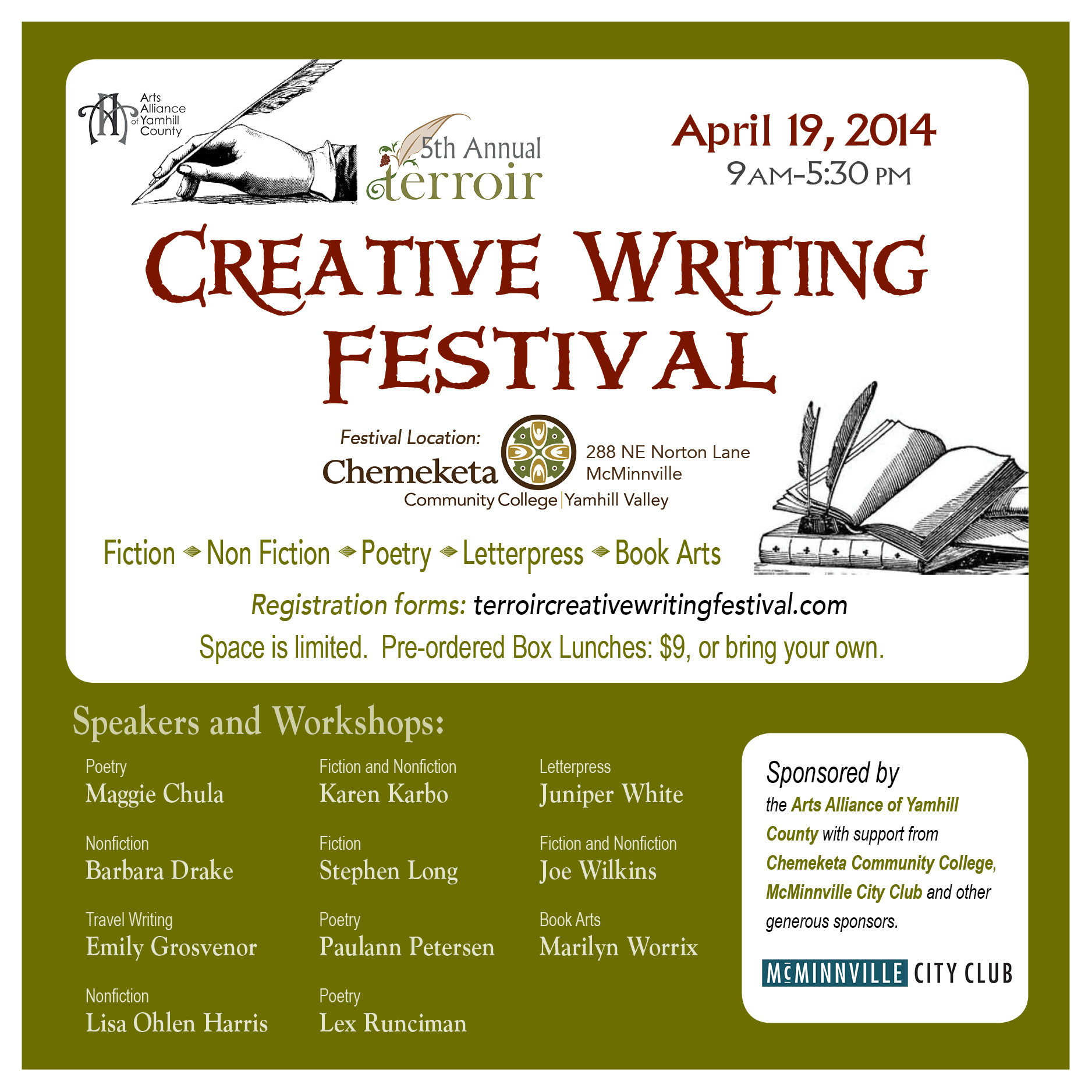 terroir creative writing festival mcminnville